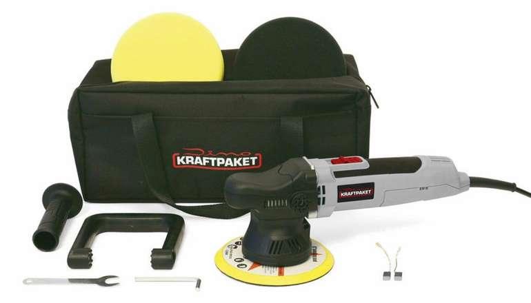 Dino Kraftpaket Exzenter-Poliermaschine (650W, 9mm Hub, 1.600-6.400 U/min, inkl. Tragetasche & Zubehör) für 64,99€