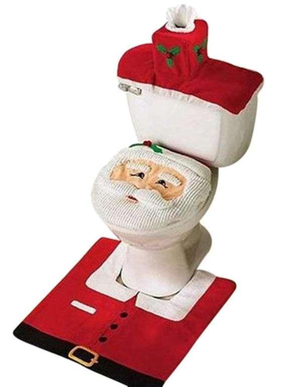 Uten WC Weihnachtsdeko (Sitz- und Toilettenbezug + Badematte) für 4,99€