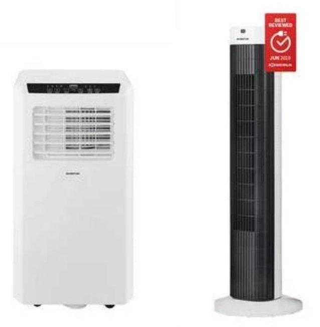 Inventum Mobile Klimaanlage AC701 + Turmventilator VTO812WA (7.000 BTU, Inkl. Ablaufschlauch) für 208,90€