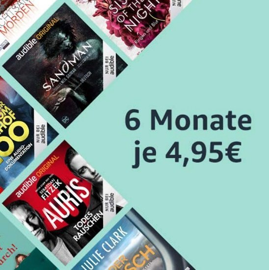 Audible: 6 Monate mit jeweils 1 Hörbuch nur 4,95€ pro Monat (statt 9,95€)