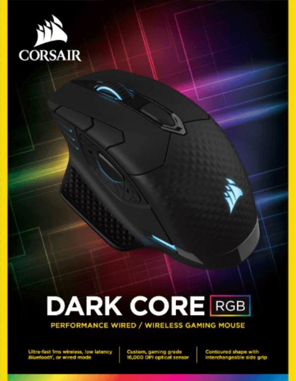 Corsair Dark Core RGB Gaming-Maus (Bluetooth) für 66€ inkl. Versand (statt 91€)