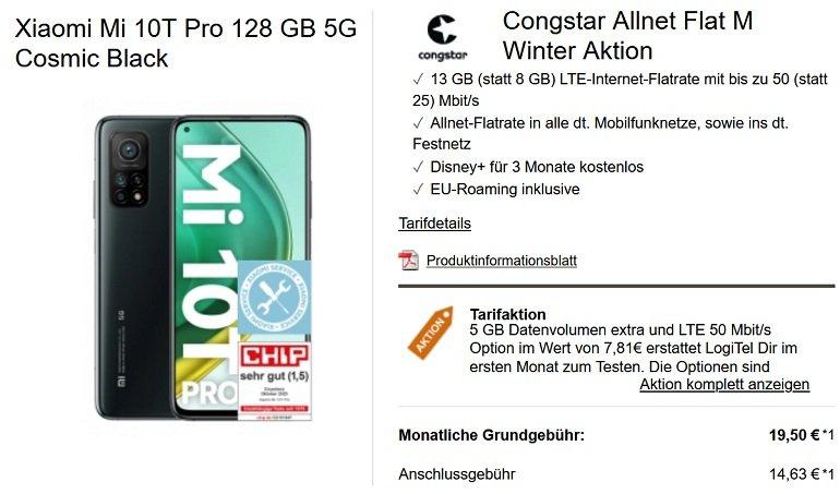 Xiaomi Mi 10T Pro Congstar Allnet-Flat M mit 8GB LTE