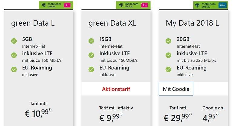Mobilcom Debitel Telekom green Data XL