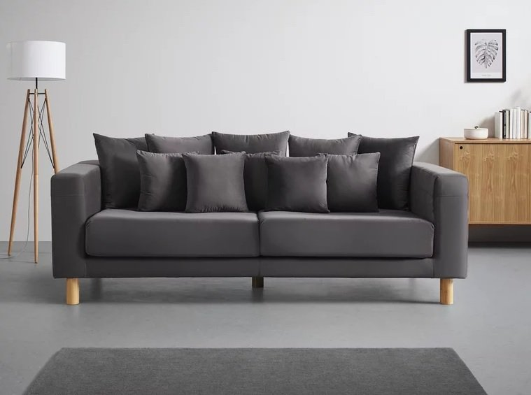 "Mömax Sofa in grau inkl. 10 Kissen ""Leno"" für 553,30€ inkl. Versand (statt 649€)"