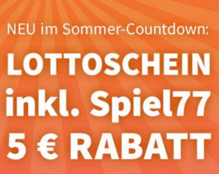 Lottohelden Sommer-Countdown: 5€ Rabatt auf einen Lottoschein inkl. Spiel 77
