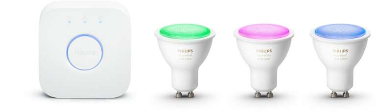 Philips Hue White & Color Ambiance GU10 Starter Kit für 109,95€ inkl. VSK