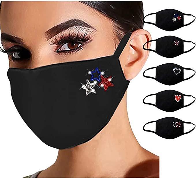 Sonojie verschiedene 5er Packs Mund-Nase-Masken mit Strass ab 7,95€ (statt 11€)