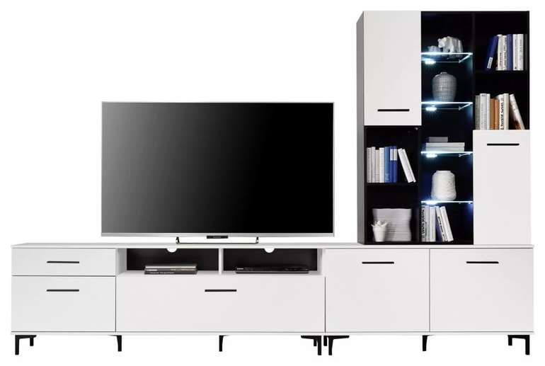 Modern Living Wohnwand inkl. Vitrine mit LED Beleuchtung für 259,25€ inkl. Versand (statt 349€) - Bonuscard