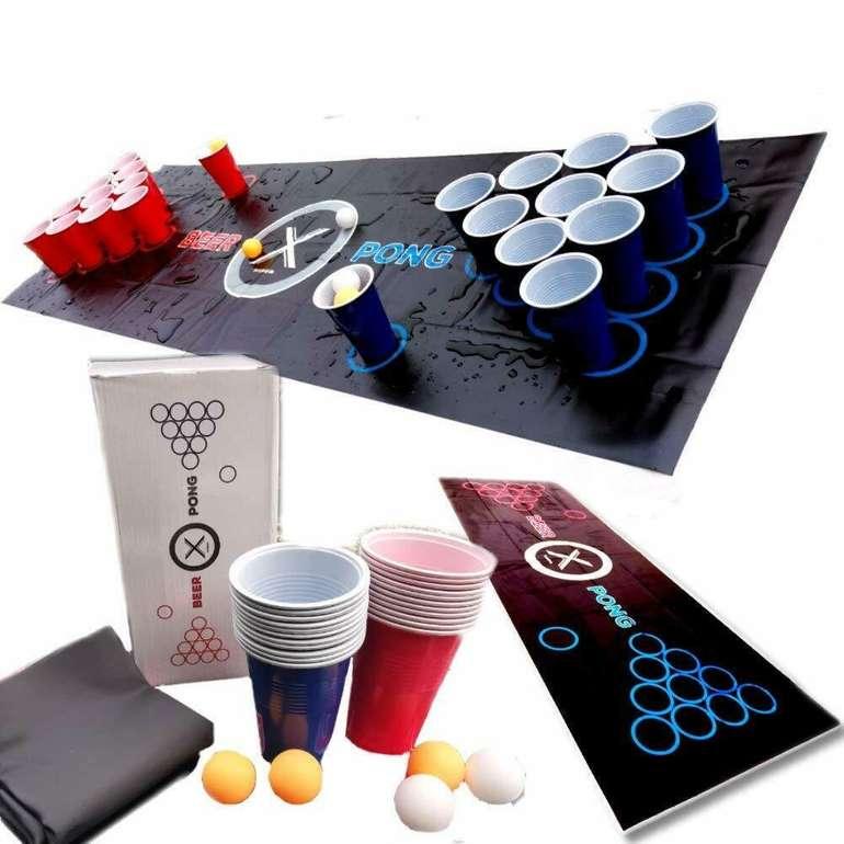 Beer-Pong Trinkspiel Matte (180x60cm) mit 22 Bechern und 6 Bällen für 16,79€ inkl. Versand (statt 24€)