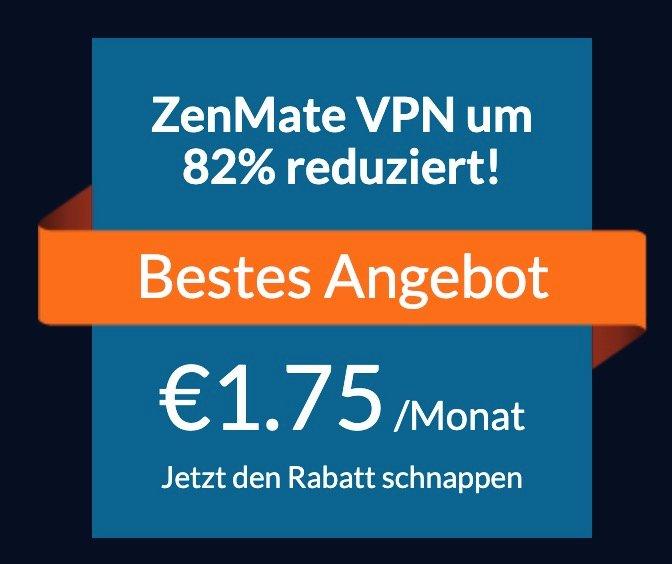 ZenMate VPN -  Internetsicherheit und Privatsphäre für 1,75€ mtl. bzw. 21€ im Jahr