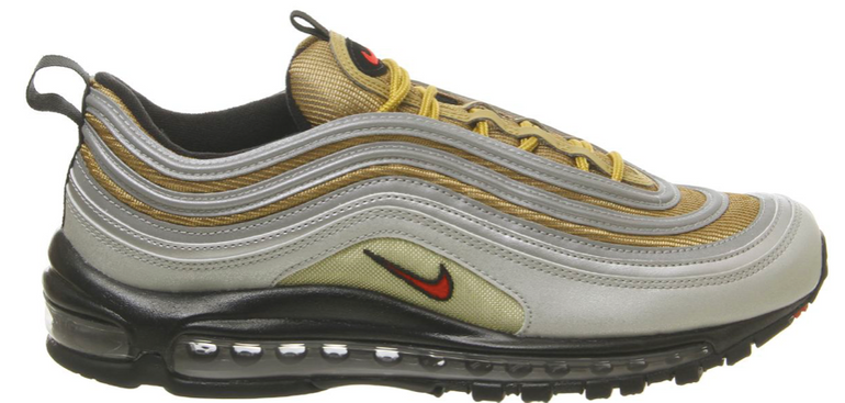 Nike Air Max 97 Trainers Sneaker in Silver Gold Black für 81€ (statt 110€)