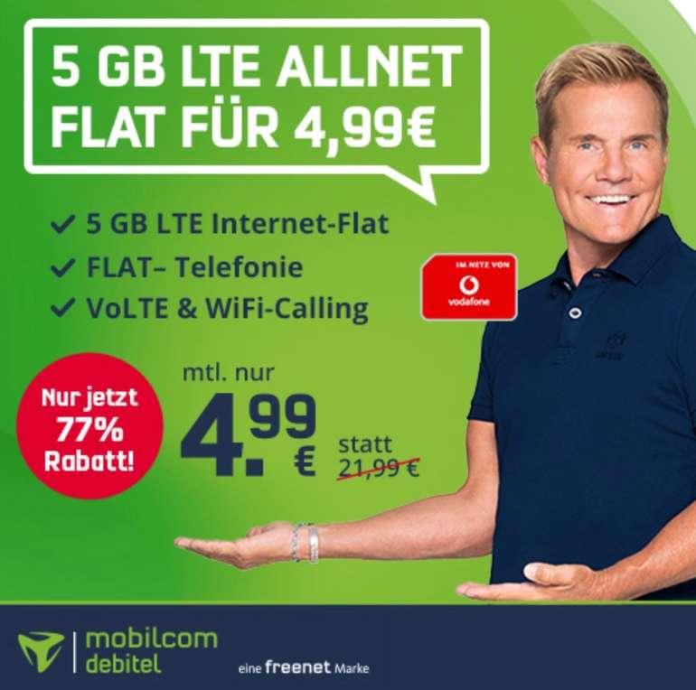mobilcom debitel Vodafone green Allnet Flat mit 5GB LTE (VoLTE, WLAN Call) für 4,99€ mtl.