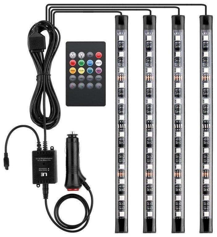 4er-Set LED-Streifen für den Innenraum eures Autos (12V) für 10,99€ mit Versand