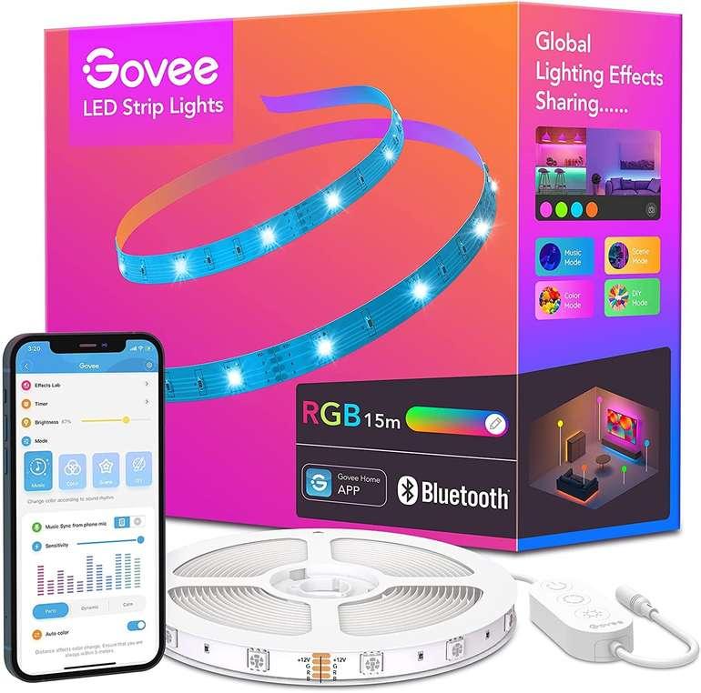 Govee 15m LED Streifen (RGB Farbwechsel, Bluetooth, Musiksync) für 13,79€ inkl. Prime Versand (statt 23€)