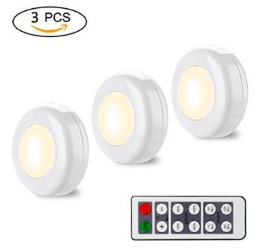 3er Pack Yikanwen LED-Leuchten mit Fernbedienung für 9,49€ (statt 19€)