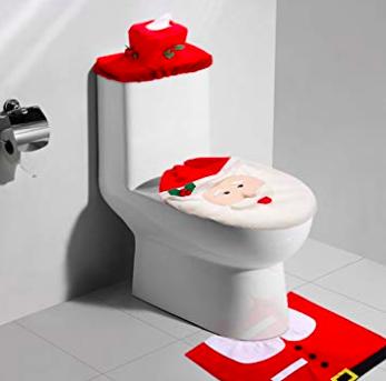 Uten WC Weihnachtsdeko (Sitz- und Toilettenbezug + Badematte) für 5,49€
