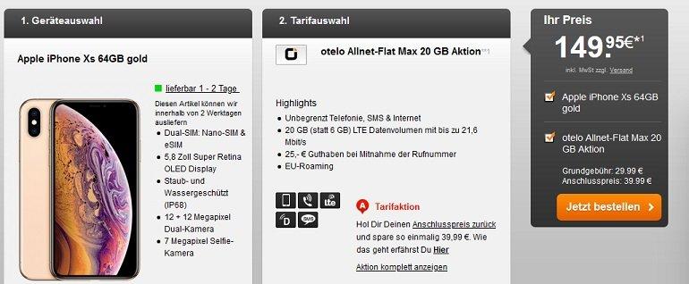 Apple iPhone XS Vodafone Otelo Allnet-Flat 20GB LTE