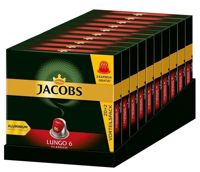 Jacobs Lungo 6 Classico – 220 Kaffee Kapseln Nespresso für 34,90€ (statt 40€)