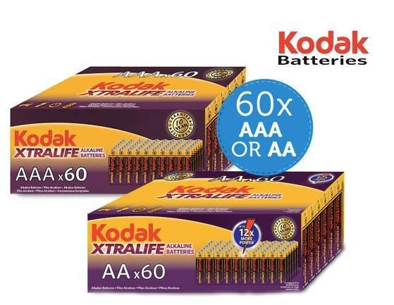 Kodak Xtralife Alkaline Batterien in AA oder AAA 60 Stück für je 22,90€