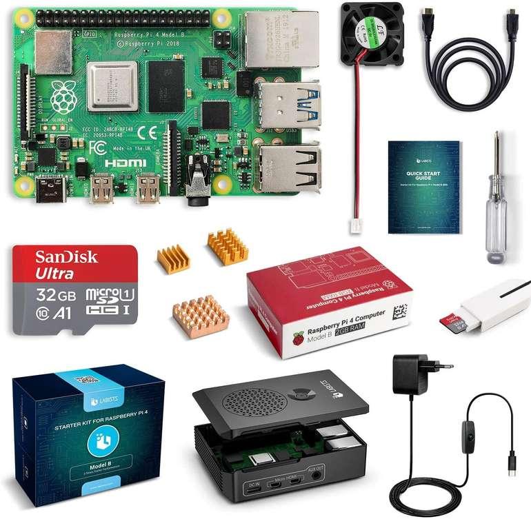 Labists Raspberry Pi 4 Model B 2GB Kit mit 32GB Speicherkarte für 66,49€ (statt 90€)