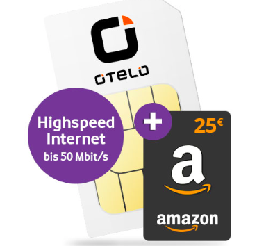 Otelo Allnet Classic (Allnet- & SMS-Flat, 4GB LTE) für 11,49€ mtl. + 25€ Amazon