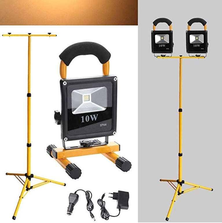 2er Pack Hengda 50W LED Flutlichter mit Teleskop-Stativ für 53,19€ (statt 76€)