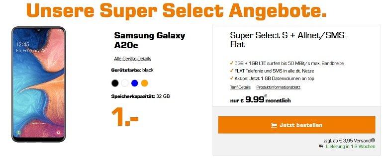 Samsung Galaxy A20e o2 Allnet-Flat 4GB LTE