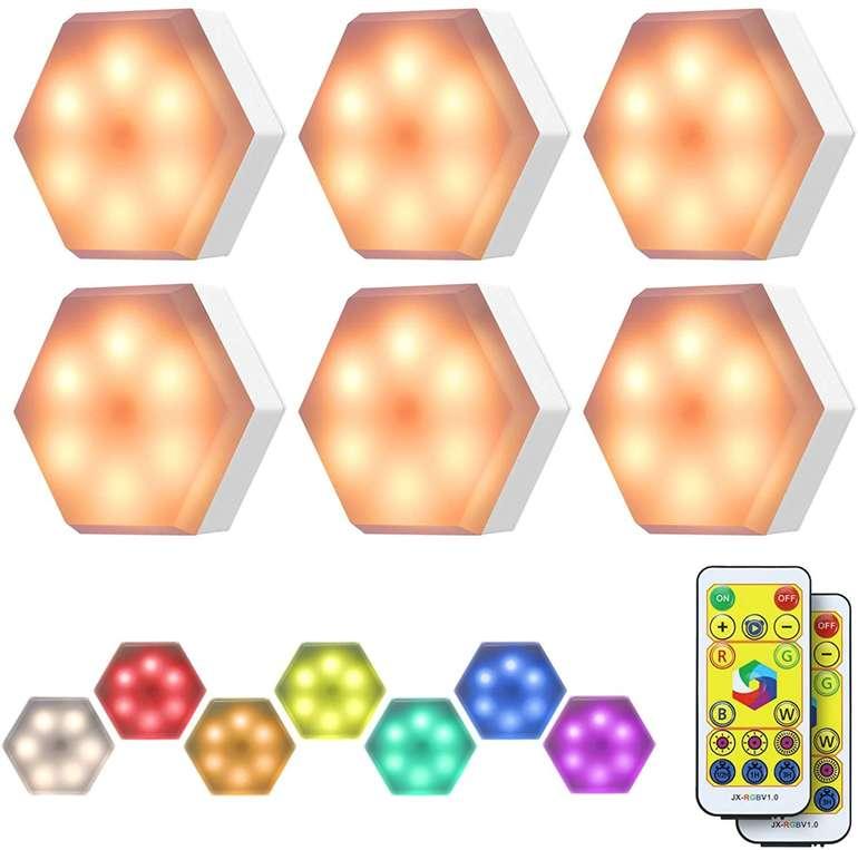 Kingso 6er Pack RGB Schrankleuchten mit Fernbedienung für 13,99€ inkl. Prime Versand (statt 20€)