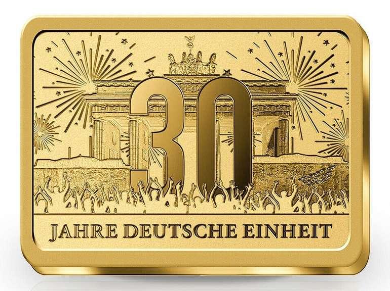 Goldbarren 30 Jahre Deutsche Einheit (1/500 oz) für 10€ (statt 15€)