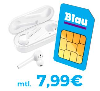 Blau Allnet-Flat L mit SMS und 3GB LTE + Huawei FreeBuds (4,95€) für 7,99€ mtl.
