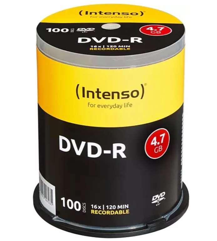 100er Spindel Intenso DVD-R 4,7GB Rohlinge (120 Min) für 15,99€ inkl. Versand (statt 22€)