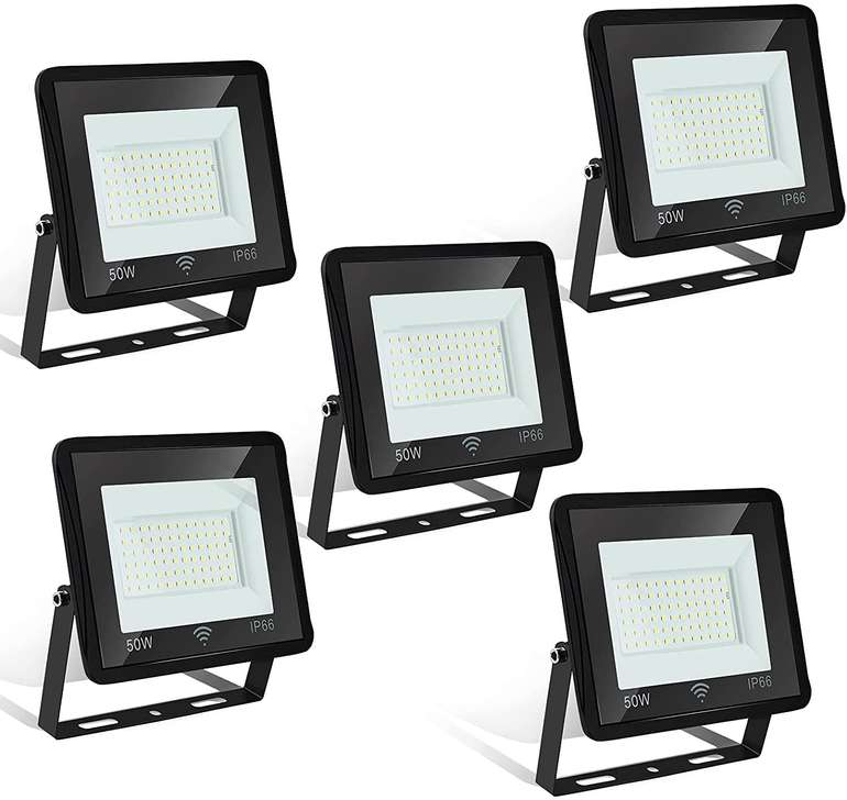 Hengda 5er Packs LED Strahler mit Bewegungsmelder reduziert, z.B. 50W für 41,29€
