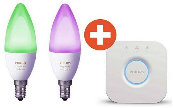 Philips Hue White and Color Ambiance E14 (2er Pack + Bridge) für 88,38€