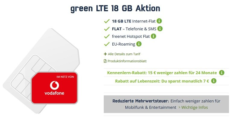 Mobilcom Vodafone green Allnet Flat 3