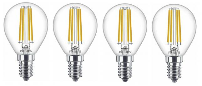 4er Pack Philips E14 mit 6.5 Watt LED Glühlampen für 9,99€inkl. Versand (statt 26€)