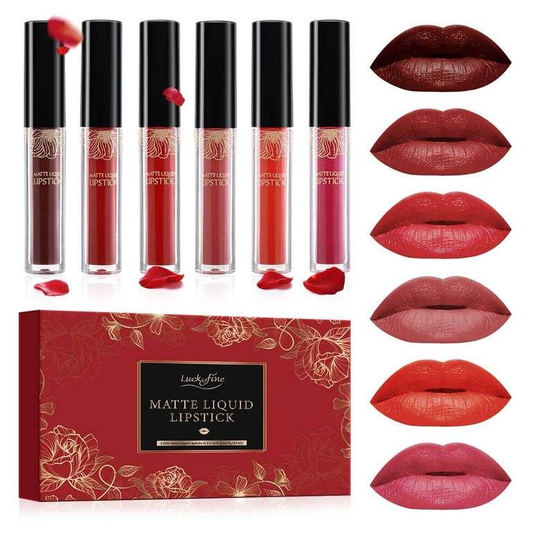 Luckyfine Lipgloss Set mit 6 Farben (matt) für 5,49€ inkl. Prime Versand (statt 10€)
