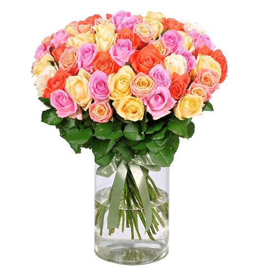 Blume Ideal: Blumenstrauß mit 50 bunten Rosen für 27,98€ inkl. Versand