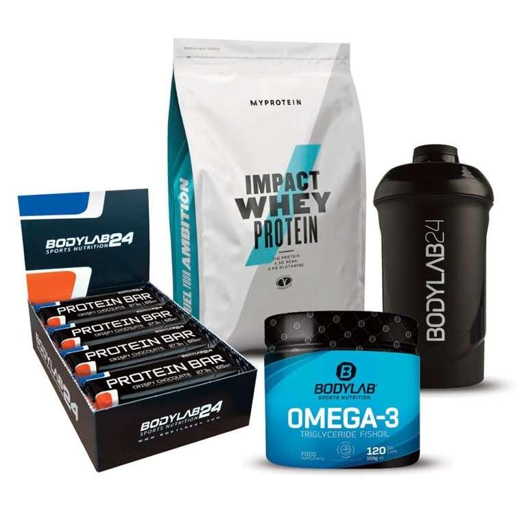 Bodylab24: 1kg Myprotein Whey + 12x 65g Bodylab24 Protein Bar + 120 Omega-3 Kapseln + Shaker für 35€