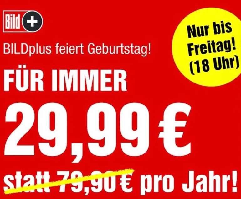 BILDplus Digital Abo - 1 Jahr lang für 29,99€ - dauerhaft! (statt 79,90€) - oder für 2,99€ monatlich (statt 7,99€)