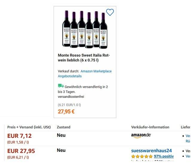 6 Flaschen Monte Rosso Sweet Italia Rotwein lieblich
