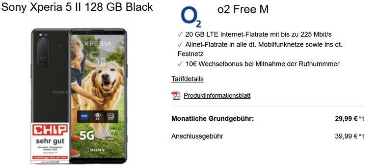 Sony Xperia 5 II o2 Free M Allnet-Flat mit 20GB LTE