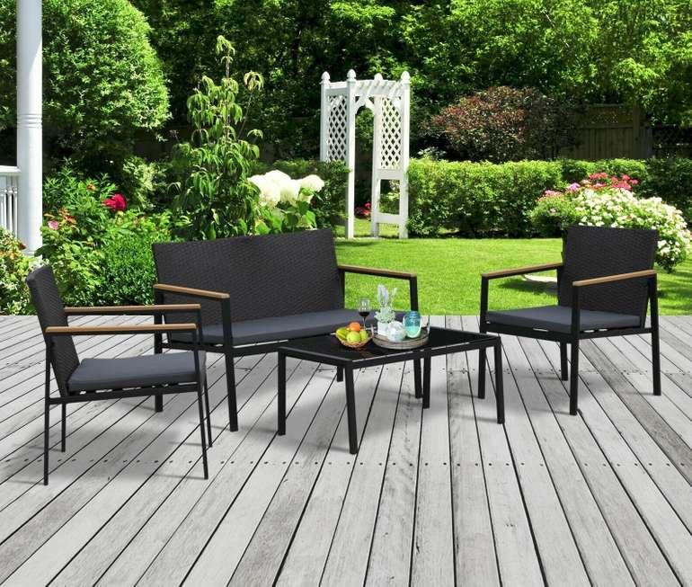 Garten Möbelset 4-teilige Sitzgarnitur (Rattan) für 134,91€ inkl. Versand (statt 162€)