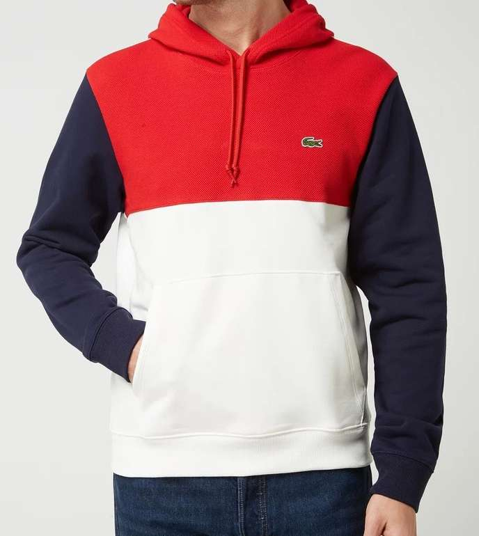 Lacoste SH8865 Herren Hoodie im dreifarbigen Design für 84,99€ inkl. Versand (statt 140€)