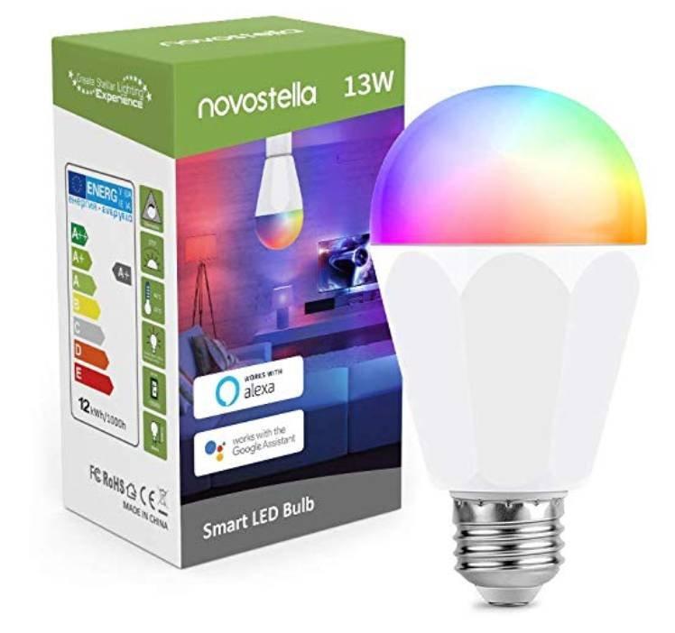 Novostella - Smarte E27 LED RGB Glühbirne (dimmbar, Alexa komp.) für 13,19€ (statt 33€)
