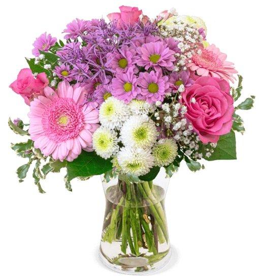 Blumenstrauß 1.000 Küsse (Rosa Rosen, Santini, Chrysanthemen) für 22,98€ inkl. Versand