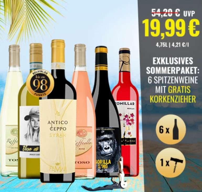Belvini Super-Sommer 6er Weinpaket - 6 italienische Weine + Korkenzieher für 25,94€ inkl. Versand