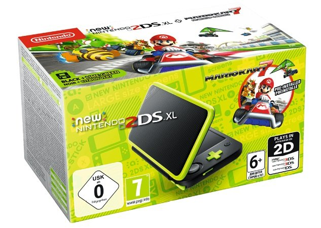 New Nintendo 2DS XL Schwarz+Apfelgrün inkl. Mario Kart 7 für 129€ (statt 149€)