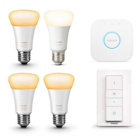 Philips Hue White Ambiance E27 Starter Kit (4x E27 + Bridge + Dimmschalter) für 84,95€ inkl. VSK
