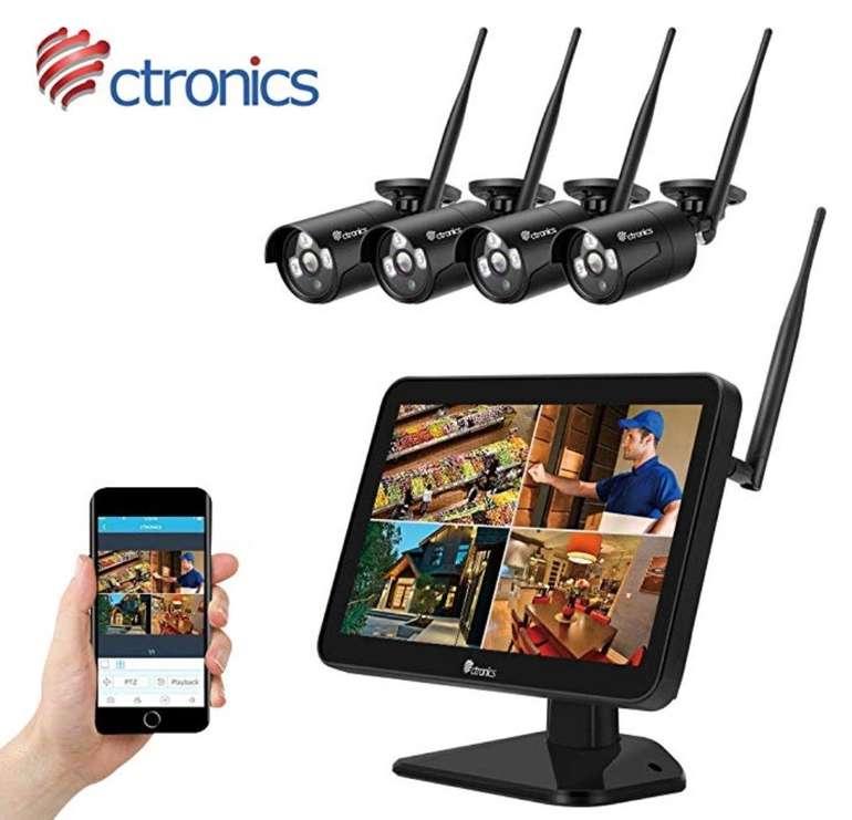 """Ctronics Überwachungskamera Set mit 2MP 12"""" LCD-Monitor und 4 Kameras für 176€"""