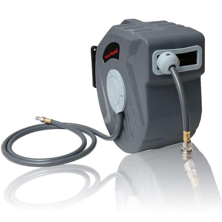Hengda: automatische Druckluftschlauch Aufroller reduziert, z.B. Aufroller inkl. 20 m Schlauch für 39,89€